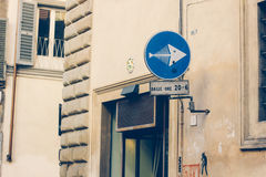 Verkehrsschild herein Florenz, Italien Stockfotografie