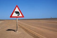 Verkehrsschild innen die Namibische Wüste stockfotografie
