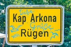 Verkehrsschild Kap Arkona stockbild