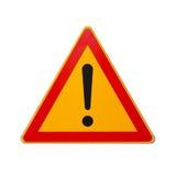Verkehrsschild mit dem Ausrufezeichen lokalisiert auf Weiß Stockfotografie