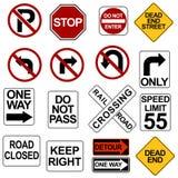 Verkehrsschild-Set Stockbilder