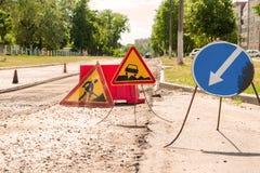 Verkehrsschild-Straßen-Reparatur Lizenzfreie Stockfotografie