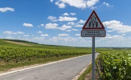 Verkehrsschild von Travaux Viticoles Stockfotografie