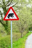 Verkehrsschild - warnen Sie Frösche auf der Straße 2 Stockfotos