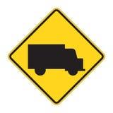 Verkehrsschild-WARNING - LKW stock abbildung