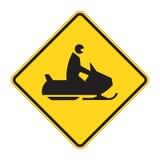 Verkehrsschild-WARNING - Schnee Mobil Stockfoto