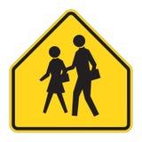 Verkehrsschild-WARNING - Schule Lizenzfreie Stockfotos