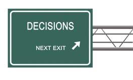 Verkehrsschild zu den Entscheidungen stock abbildung