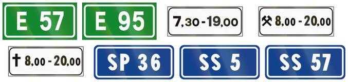 Verkehrsschilder benutzt in Italien lizenzfreie abbildung