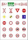Verkehrsschilder u. Schauzeichen Stockfotos
