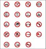 Verkehrsschilder u. Schauzeichen Stockfoto