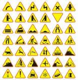 Verkehrsschildsatz (Warnzeichen) Stockbild
