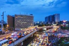 Verkehrsstockung in den Städten Stockbild