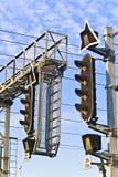 Verkehrszeichen auf einem Bahnhof Lizenzfreies Stockfoto
