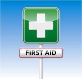 Verkehrszeichen der ersten Hilfe Stockfotografie