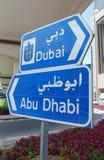 Verkehrszeichen innen Dubai Lizenzfreies Stockbild
