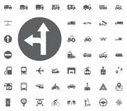 Verkehrszeichen-Linkskurveikone Gesetzte Ikonen des Transportes und der Logistik Gesetzte Ikonen des Transportes Lizenzfreie Stockfotografie