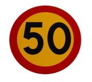 Verkehrszeichen mit 50 Drehzahlen lizenzfreie stockfotos