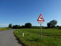 Verkehrszeichen - Rotwildüberfahrt Lizenzfreies Stockbild