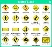 Verkehrszeichensammlung, warnende Verkehrsschilder Lizenzfreies Stockfoto