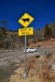 Verkehrszeichenwarnung des Viehs auf der Straße Lizenzfreies Stockbild
