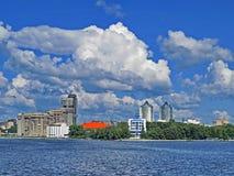 Verkh-Isetskiy pond, promenade, city center, plotinka. Dinamo stadium, the sample of constructivism. Yekaterinburg. Is the fourth largest city in Russia stock photos