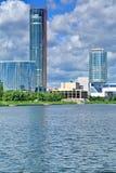 Verkh-Isetskiy pond. Promenade. City center. Teatr. Plotinka. Skyscraper 213 meters. Yekaterinburg. Verkh-Isetskiy pond. Promenade. City center. Teatr. Plotinka stock images