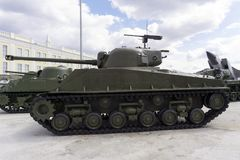 American medium tank, M4A276 HVSS Sherman in the museum of military equipment stock images