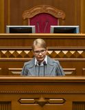 Verkhovna Rada of Ukraine. KIEV, UKRAINE - Feb. 07, 2019: Leader of the Batkivshchyna faction Yulia Tymoshenko during a meeting of the Verkhovna Rada of Ukraine royalty free stock photo