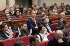 Verkhovna Rada of Ukraine. KIEV, UKRAINE - Feb. 07, 2019: Leader of radical party Oleg Lyashko during a meeting of the Verkhovna Rada of Ukraine, in Kiev royalty free stock photography