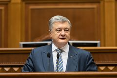 Verkhovna Rada of Ukraine. KIEV, UKRAINE - Feb. 07, 2019: President of Ukraine Petro Poroshenko during a meeting of the Verkhovna Rada of Ukraine, in Kiev stock photography