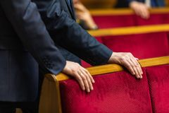 Verkhovna Rada of Ukraine. KIEV, UKRAINE - Feb. 07, 2019: Working moments during the session of the Verkhovna Rada of Ukraine, in Kiev royalty free stock image