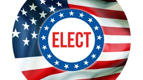 Verkies op de V.S. achtergrond, het 3D teruggeven De vlag die van de Verenigde Staten van Amerika in de wind golven De stemming,  royalty-vrije illustratie