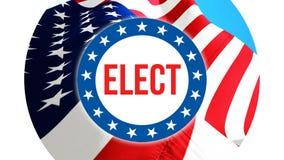 Verkies op de V.S. achtergrond, het 3D teruggeven De vlag die van de Verenigde Staten van Amerika in de wind golven De stemming,  stock illustratie