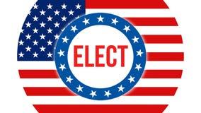 Verkies op de V.S. achtergrond, het 3D teruggeven De vlag die van de Verenigde Staten van Amerika in de wind golven De stemming,  vector illustratie