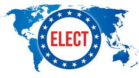 Verkies op een Wereldachtergrond, het 3D teruggeven De kaart van het wereldland als politiek concept als achtergrond De stemming, royalty-vrije illustratie