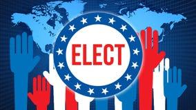 Verkies op een Wereldachtergrond, het 3D teruggeven De kaart van het wereldland als politiek concept als achtergrond De stemming, stock illustratie