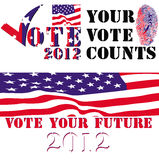 Verkiezing 2012 kentekens Royalty-vrije Stock Foto