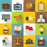 Verkiezing geplaatste stemmingspictogrammen, vlakke stijl Stock Foto's