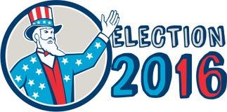 Verkiezing 2016 Oom Sam Hand Up Circle Retro Stock Fotografie