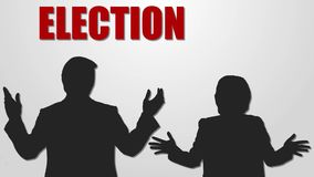 Verkiezing 2016 Rode, witte en blauwe grafische motie Clinton versus Troef royalty-vrije illustratie