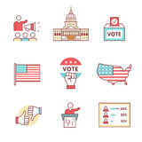 Verkiezingen, campagne en stemmings geplaatste tekens vector illustratie