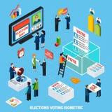 Verkiezingen en Stemmings Isometrische Samenstelling vector illustratie