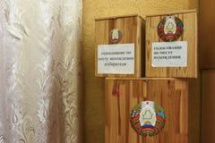 Verkiezingen van Afgevaardigden en de Voorzitter in de Republiek van Witrussische Vroege stemming zoals in de V.S. royalty-vrije stock foto's