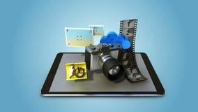 Verklaar diverse functie van de cameratoepassing voor Slimme telefoon slim mobiel stootkussen, royalty-vrije illustratie