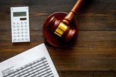 Verklaar faillissementsconcept Rechtershamer, financiële documenten, calculator op donkere houten achtergrond hoogste meningsruim stock foto