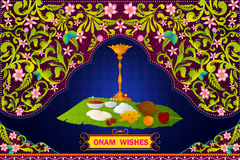 Verklaar voorbereiding van het Zuiden de Indische voedsel voor Gelukkige Onam-viering voor authentiek vector illustratie