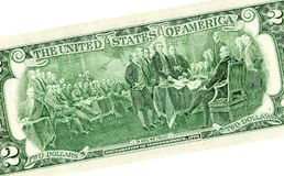 Verklaring van onafhankelijkheid die van dollar twee trekken royalty-vrije stock foto's