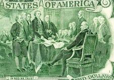Verklaring van onafhankelijkheid die van het twee dollarbankbiljet trekken stock afbeeldingen