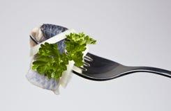 Verkleidung der Fische auf einer Gabel Lizenzfreies Stockbild